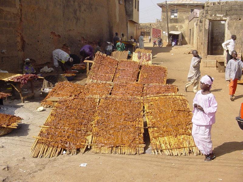 Kilishi drying in the sun
